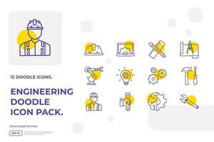 Concepto de icono de doodle relacionado con la ingeniería y la arquitectura para la ilustración de vector de servicio industrial, mantenimiento, fabricación, negocios