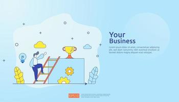 business concept with stair, trophy cup and tiny people. direction to success. Finance growth vision, winner victory achievement award and personal career development flat style vector illustration