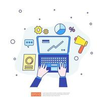 marketing concept with document data report. business statistics, investment analysis, planning research and finance audit with paper sheet chart, laptop, magnifier, paperwork, charts, graphs element vector