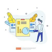 digital marketing strategy concept vector illustration. Business growth graph and chart increase to success. Return on investment ROI or increase profit. Finance stretching rising up for  banner