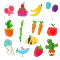 isolated cartoon of fruit and animal vector illustration. clip ar set for greeting card, anniversary, web banners, social and print media