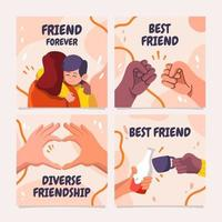 Card Collection of Friendship Day vector