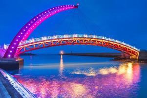 Night view of a beautiful bridge in Miaoli, Taiwan photo