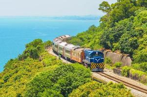 Scenery of Southern Taiwan with railway and train photo