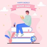 feliz dia mundial del libro vector