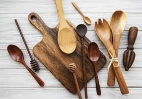 Wooden cutlery kitchen ware photo