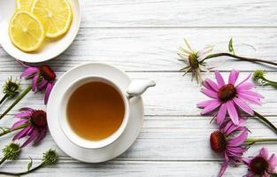 Echinacea tea with lemon and fresh flowers. photo