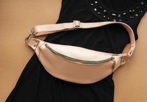 Pink leather belt bag photo