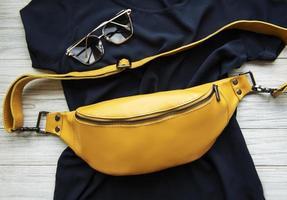 Yellow leather belt bag photo