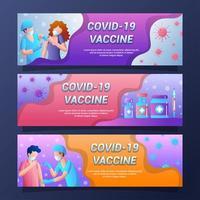 Covid 19 Vaccination Banner Set Design vector