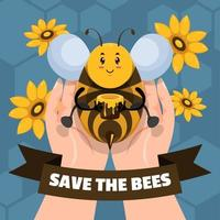 Save the Bees for Honey Bee Protection Campaign vector
