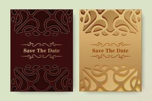 Luxury save the date with ornament logo vector
