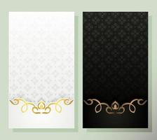 white and black greeting card with elegant pattern vector