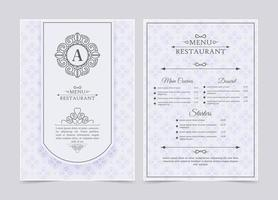 white restaurant menu with ornament pattern vector