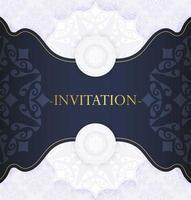 elegant blue mandala style invitation vector