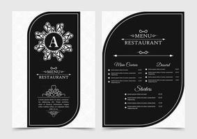 restaurant menu with elegant ornamental style vector