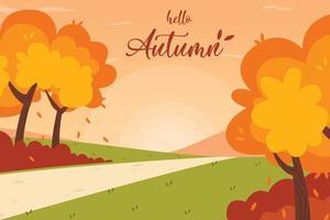 hola callejón de otoño en el paisaje del parque vector