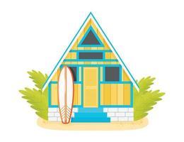 cabaña de playa amarilla con tabla de surf vector