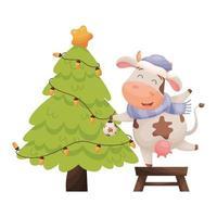 cute cartoon cow decorates Christmas tree vector