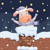 vaca de dibujos animados lindo en la chimenea vector