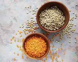 Different raw lentils photo