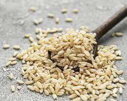 Raw brown rice photo