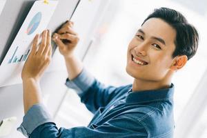 El empresario asiático estaba pegando una nota adhesiva en la pizarra para prepararse para la presentación. foto