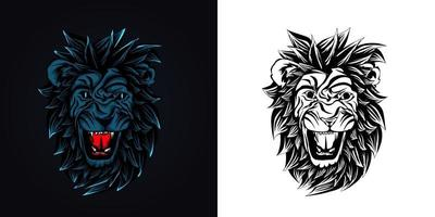 angry lion mascot logo vector illustration