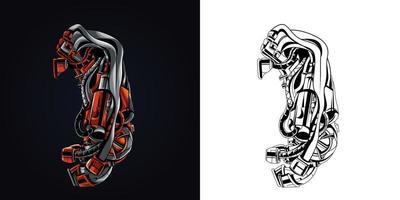 exhaust mascot logo vector illustration