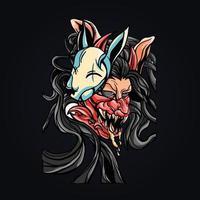 satan mask wolf mascot logo vector illustration