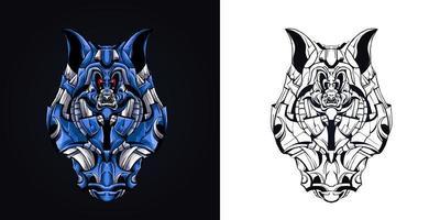 wolf robotic mascot logo vector illustration