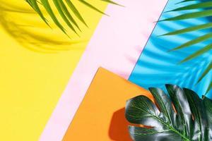 Fondo de verano con hojas sobre fondo amarillo, naranja, azul y rosa. foto