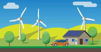 Electric car charging at the charger at house, solar panels, wind turbines in background. vector