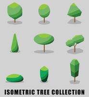 Collection of isometric tree and shrub flat design style. vector