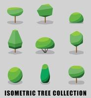 Collection of isometric tree and shrub flat design style. Vector illustration.