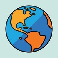bosquejo del mapa del mundo a mano alzada de la simplicidad en el globo. vector