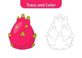 Trace and color for kids, dragon fruit vector