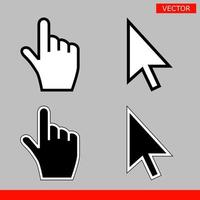 White and black arrow cursors and hand cursors icons signs flat style design vector illustration isolated on gray background