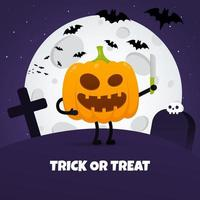 Happy halloween poster with pumpkin scary face expression grimace vector