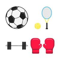 Sport attributes flat style design set icon signs isolated on white background. Soccer ball, tennis racket and ball, barbell, boxing gloves - symbols of sport games. vector