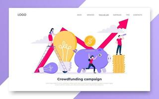 Crowdfunding composition concept of fundraising. Piggy bank with coins money currency and light bulb vector