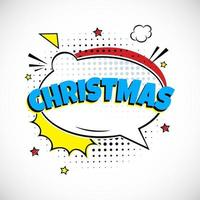 Comic Lettering Christmas In The Speech Bubbles Comic Style Flat Design. vector