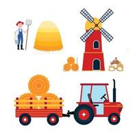 Red mill, harvesting tractor with semi-trailer and hay bale icon sign, haystack, hay sheaf and farmer with hayfork and bucket set isolated on white background flat design style vector illustration