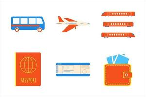 Holiday summer vacation beach elements flat style design set. Island, sun, cloud, bus, camera, wallet, slippers signs icons - symbols of season exotic vacations isolated on white background. vector