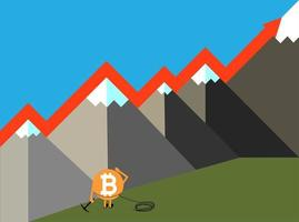 The raising of Bitcoin vector illustration 3.eps