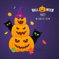 Happy halloween pumpkins pile with scary faces expression grimace, vector