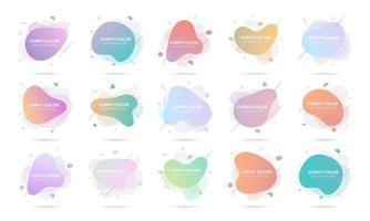 15 Modern liquid abstract element graphic gradient flat style design fluid pastel colors vector