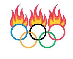 Official symbol Olympic games Tokyo 2020 japan with Fire Flame abstract vector design illustration logo sign icon
