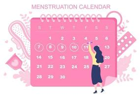 Menstruation Period Calendar Women To Check Date Cycle Illustration vector