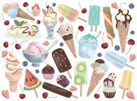 Ice cream set on a white background vector